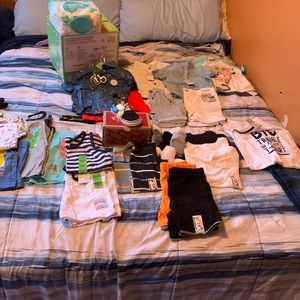 Toddler clothing,shoes, wipes, and size 4 pampers